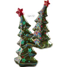 Vintage Santa Holiday Trees LED Light Ceramic Decor