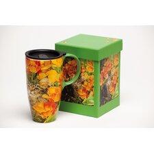 Cat in Flowers Latte Travel Mug