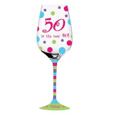 """50 is the new 40"" Handpainted Wine Glass"