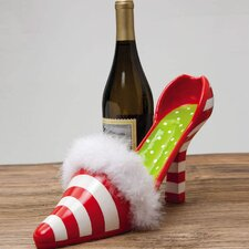 Dear Santa Polystone Candy Cane High Heel Wine Bottle Holder
