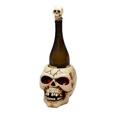 <strong>Cypress Home</strong> Hairraising Halloween Polystone LED Skull Winebottle Holder
