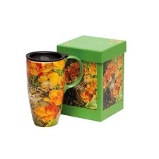 Cat in Flowers Latte Travel Mug