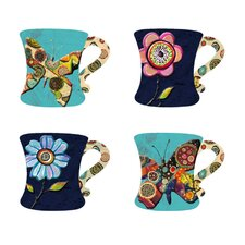Garden Charm 10 oz. Embossed Hand Painted Mug (Set of 4)