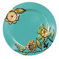 "Garden Charm Embossed Handpainted Ceramic 11"" Dinner Plate"