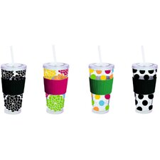 Floral / Dots 20 oz. Freezable Insulated Cup with Straw (Set of 4)