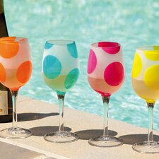 Polka Dots 12 oz. Frosted Wine Glass (Set of 4)