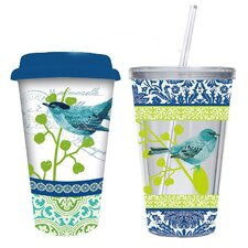 Bird Collage Hot and Cold To Go Gift Set