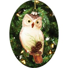 <strong>Cypress Home</strong> Molded Glass Owl Ornament with Pinecone