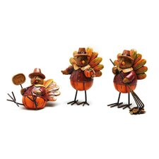 <strong>Cypress Home</strong> Autumn Inspirations Turkey Polystone Table Decor (Set of 3)