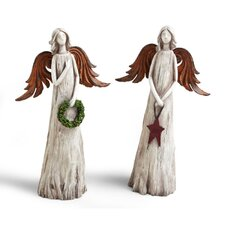 <strong>Cypress Home</strong> Cabin Christmas Angel Polystone Table Decor (Set of 2)