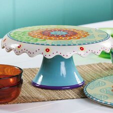 <strong>Cypress Home</strong> Proud Peacocks Ceramic Cake Stand