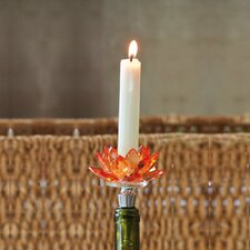 Lotus Cut Crystal Candle Holder Wine Stopper