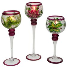 Cabin Christmas Hand Painted Glass Candlestick (Set of 3)
