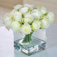 Rose Buds in Square Glass Vase
