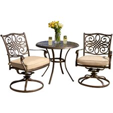 <strong>Hanover Outdoor</strong> Traditions 3 Piece Bistro Set with Cushions