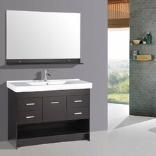 "48"" Contemporary Single Ceramic Sink Bathroom Vanity Set"