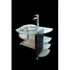 "32"" Wall Mount Tempered Glass Vessel Sink Bathroom Vanity Set"