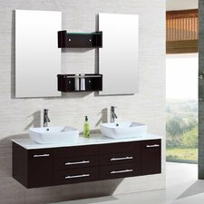 "60"" Floating Wall Mount Double Sink Bathroom Vanity Set"