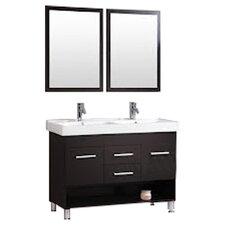"""48"""" Double Bathroom Vanity Set with Mirror"""