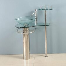 Pedestal Glass Sink Bathroom Vanity Set