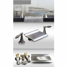 Double Handle Roman Waterfall Bath Tub Faucet Trim Lever