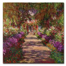"""A Pathway in Monet's Garden"" by Claude Monet Painting Print on Canvas"