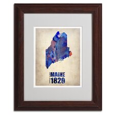 'Maine Watercolor Map' Matted Framed Art by Naxart