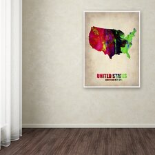 'United States Watercolor Map' Canvas Art by Naxart