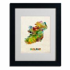 """Michael Tompsett """"Ireland Watercolor Map"""" Matted Framed Art"""