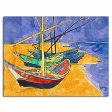 'Fishing Boats on the Beach' by Vincent Van Gogh Painting Print on Canvas