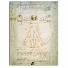 'The Proportions of the Human Figure' by Leonardo da Vinci Painting Print on Canvas