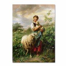 'The Shepherdess 1866' by Johann Hofner Painting Print on Canvas