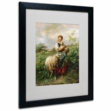 'The Shepherdess 1866' by Johann Hofner Matted Framed Painting Print
