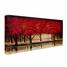 'Parade of Red Trees II' by Rio Painting Print on Canvas