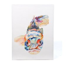 """Blue Fish"" Painting Print on Canvas by Pat Saunders-White"