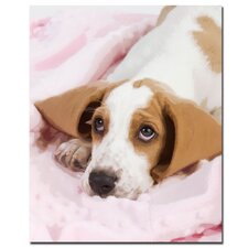 "<strong>Trademark Fine Art</strong> Basset Pup in a Blan by Gifty Idea Greeting Cards And Such, Canvas Art - 32"" x 26"""