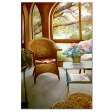 "<strong>Trademark Fine Art</strong> Wicker Chair and Cyclamen by Michelle Calkins, Canvas Art - 36"" x 24"""