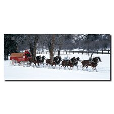 <strong>Trademark Fine Art</strong> Clydesdales in Snow Covered Field with Fence Canvas Art