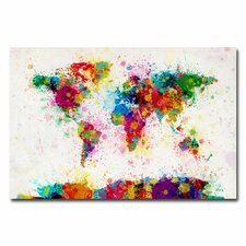 World Map Paint Splashes Canvas Wall Art