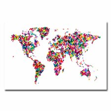 <strong>Trademark Fine Art</strong> Butterflies World Map II Canvas Wall Art
