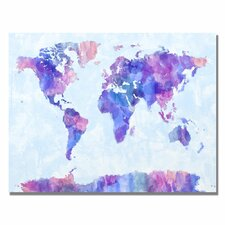 'Watercolor World Map IV' by Michael Tompsett Graphic Art on Canvas