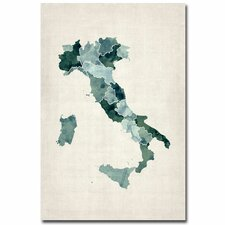 <strong>Trademark Fine Art</strong> Italy Watercolor Map Canvas Wall Art