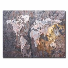 <strong>Trademark Fine Art</strong> World Map Rock Canvas Wall Art