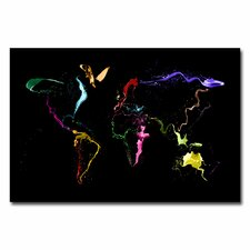 <strong>Trademark Fine Art</strong> World Map Thrown Paint Canvas Wall Art