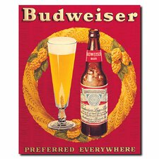 """Budweiser Prefered Everywhere"" Vintage Advertisement on Canvas"