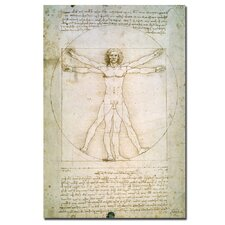 """The Proportions of the Human Figure"" by Leonardo da Vinci Painting Print on Canvas"
