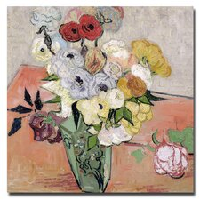 """""""Roses and Anemones, 1890"""" by Vincent Van Gogh Painting Print on Canvas"""