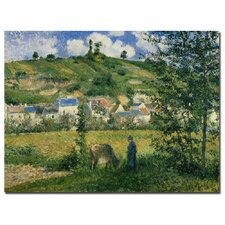 """""""Landscape at Chaponval, 1880"""" by Camille Pissarro Painting Print on Canvas"""