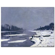 """""""Ice on Seine at Bougival, 1867-8"""" by Claude Monet Painting Print on Canvas"""