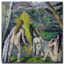 """The Three Bathers, 1879"" by Paul Cezanne Painting Print on Canvas"